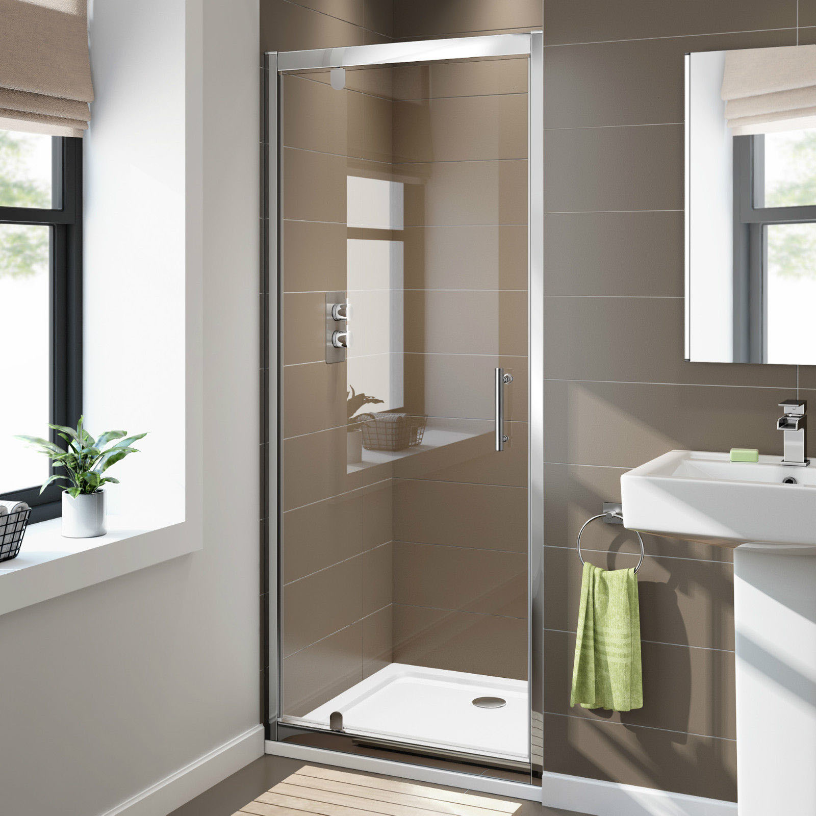 Details About Shower Screen Wall To Wall Framed Pivot Door Shower Base Enclosure