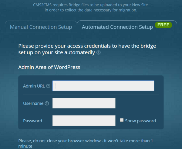 CMS2CMS Blogger to WordPress Converter automated connection