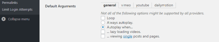 Configuring your autoplay settings.