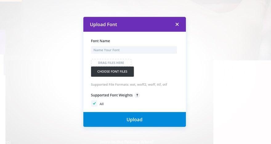 upload font modal