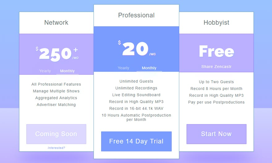 zencastr pricing tiers for podcasters