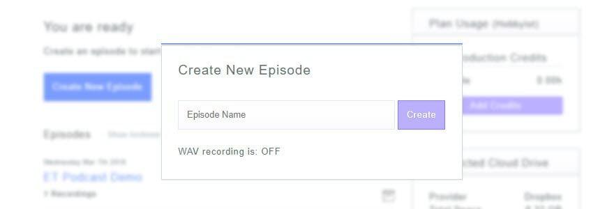 zencastr create new episode dialog