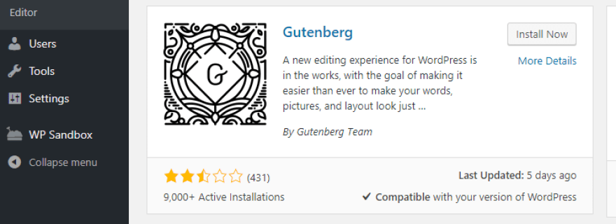 Installing the Gutenberg plugin.