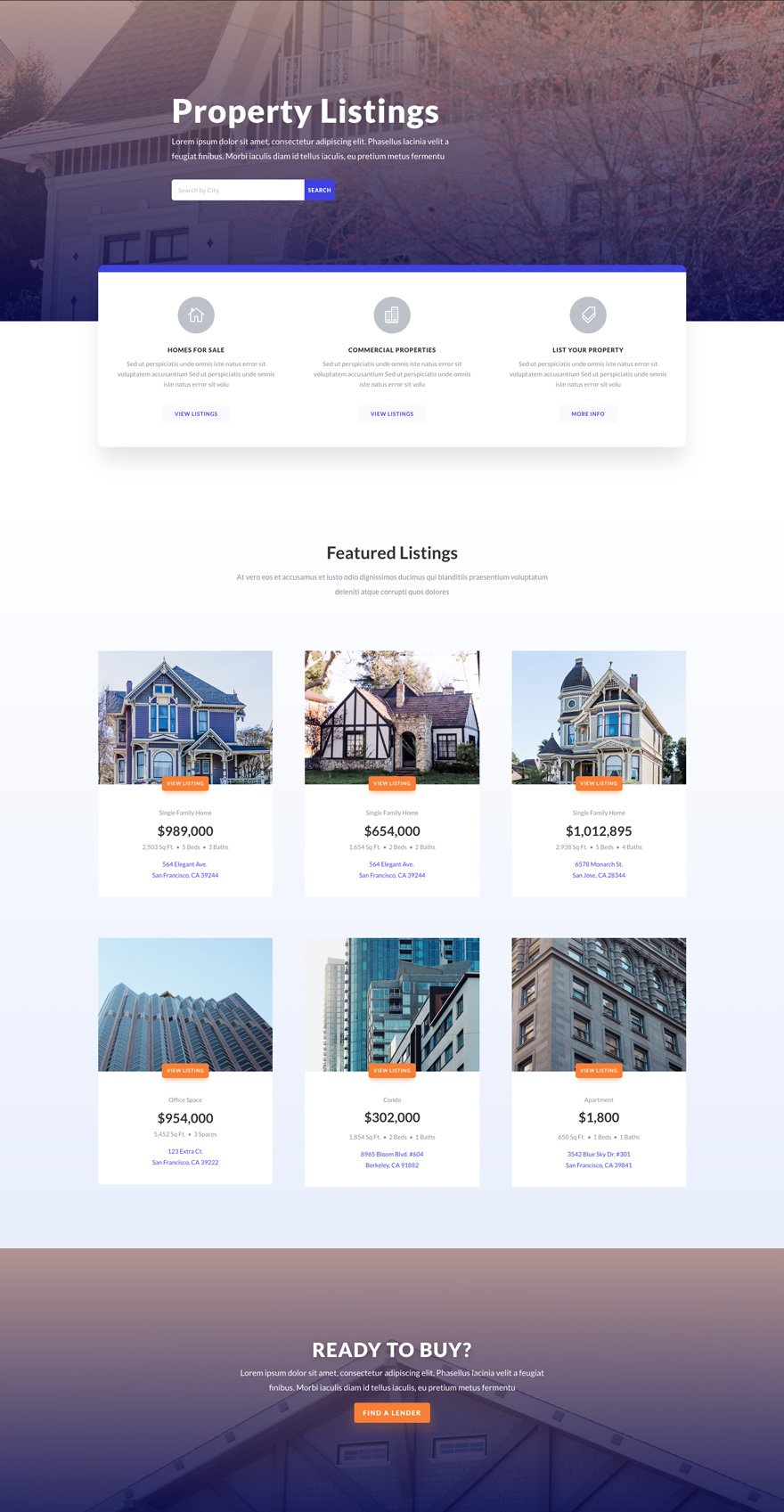 real estate listings page