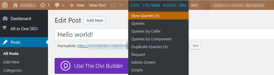 A slow query notification.
