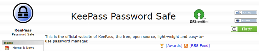 The KeePass homepage.