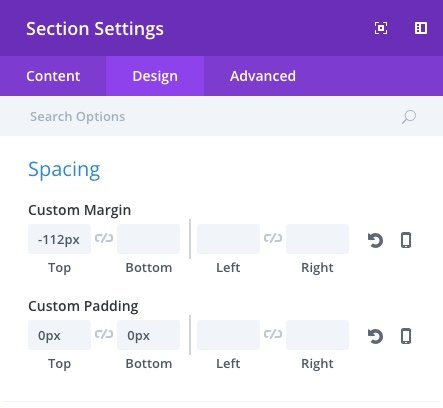 scroll button section settings