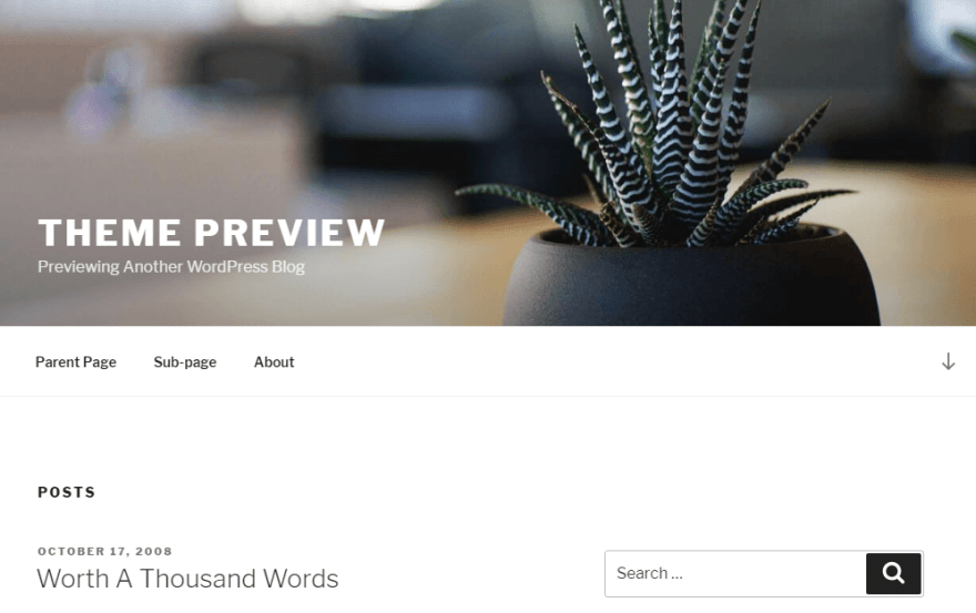 An example of a WordPress static page.
