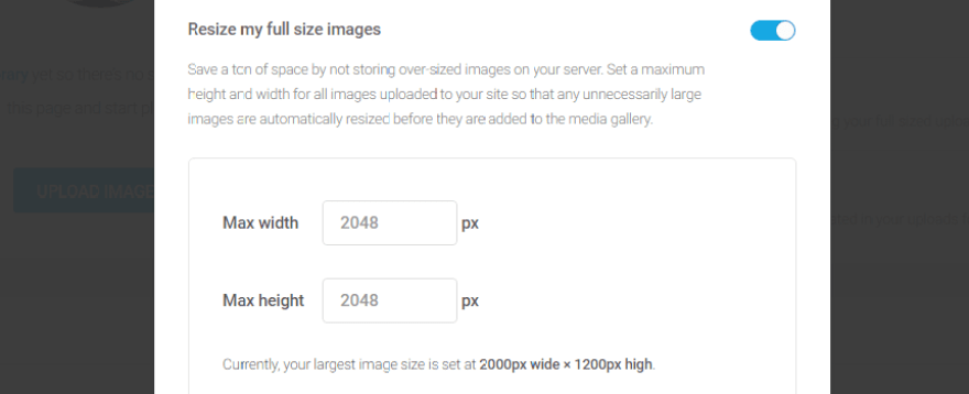 Your image resizing settings.