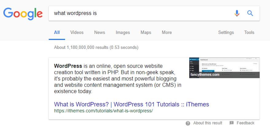 Asking Google what WordPress is.