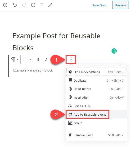 ajouter aux blocs réutilisables