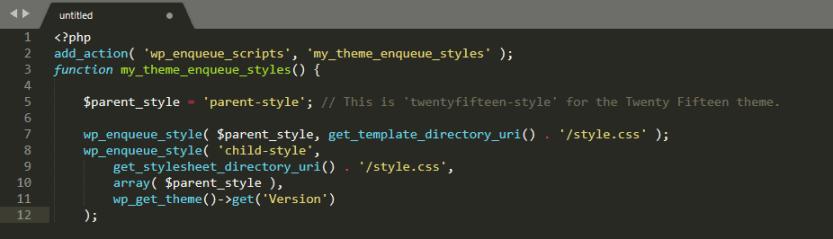WordPress' enqueue styles script.