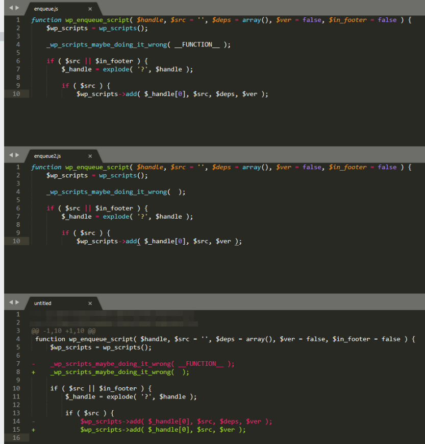 Comparing multiple files using FileDiffs.