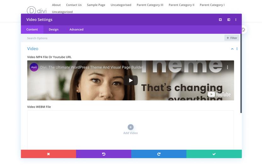A Divi Video Module using a URL to add content.