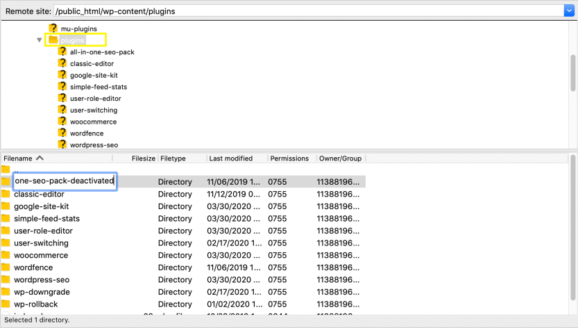 Renaming plugin directories in FileZilla.