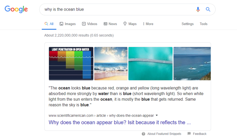 An example of a Google search including a featured snippet.