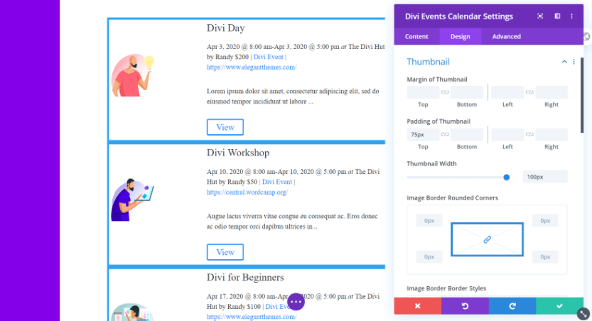 Divi Events Calendar Module Thumbnail