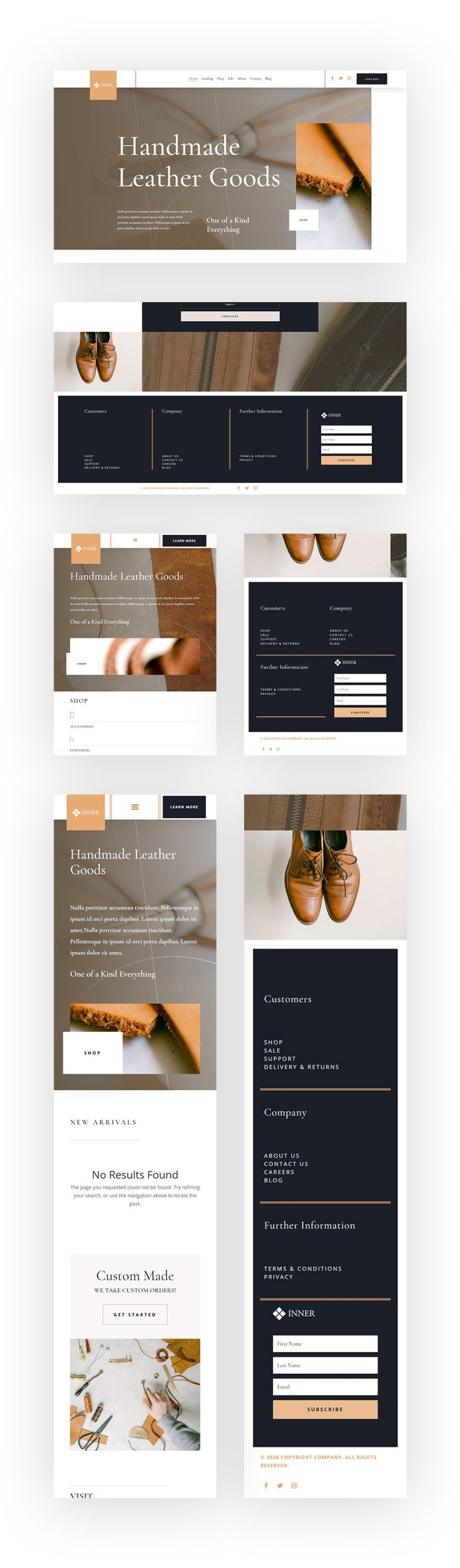 header footer template leather company layout pack