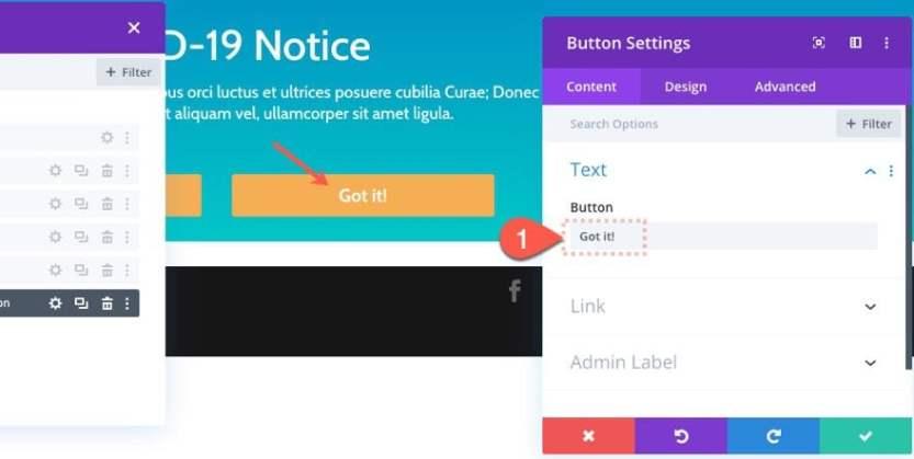divi notification box