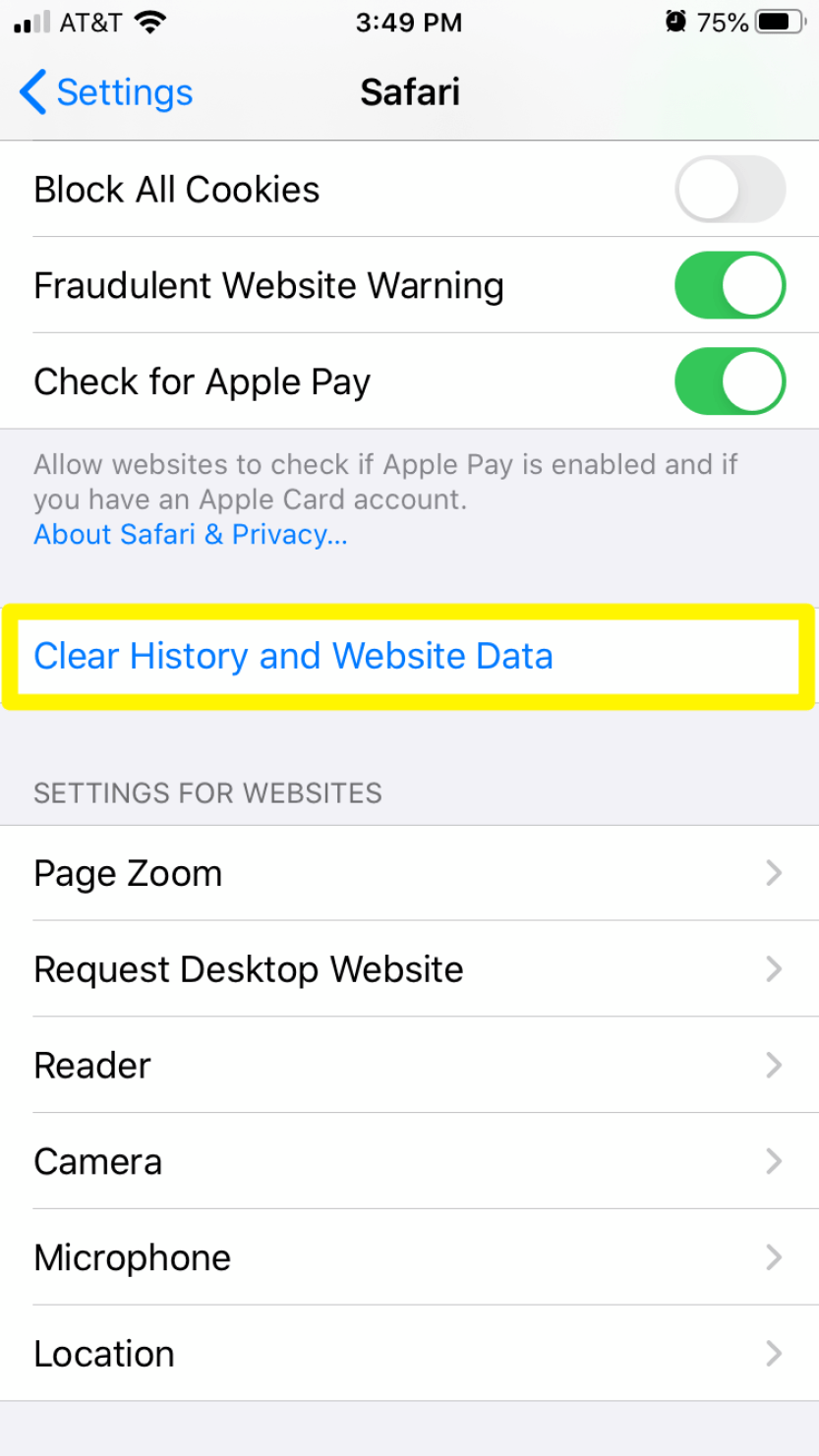 The Clear History and Browsing Data option in Safari's mobile settings.