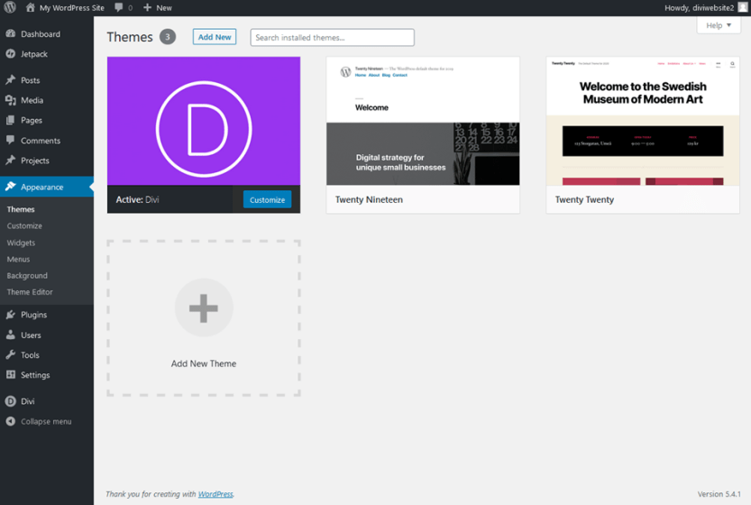 divi installed and activated on pressable