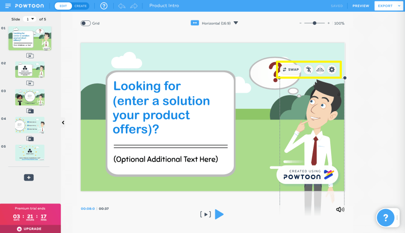 Opening the Powtoon character toolbar.