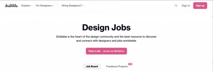 Dribbble homepage