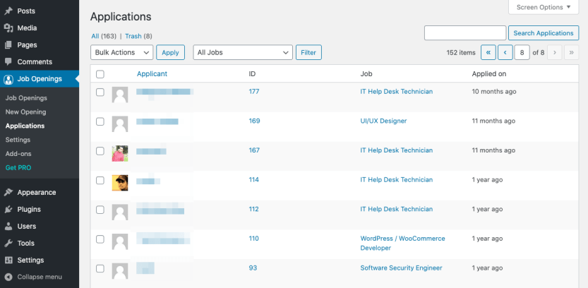 Viewing applications in WP Job Openings.