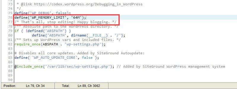 wp memory limit screenshot