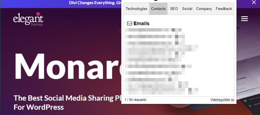 Webspotter's email lead generator.