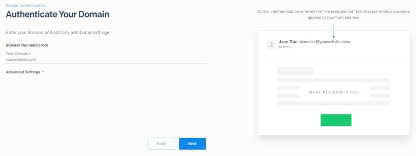 Entering your website's domain.