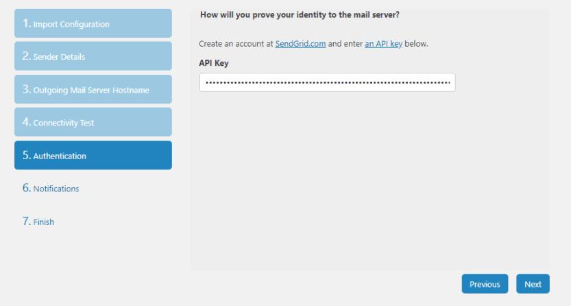 Pasting your SendGrid API key.