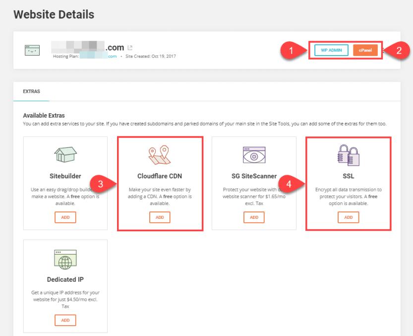 siteground wordpress hosting dashboard