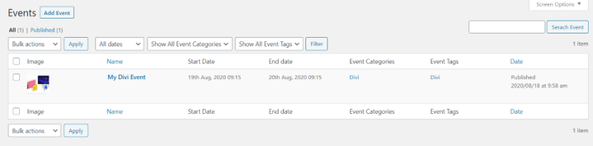 Events Post Type