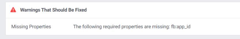 A warning in the Facebook Debugger.