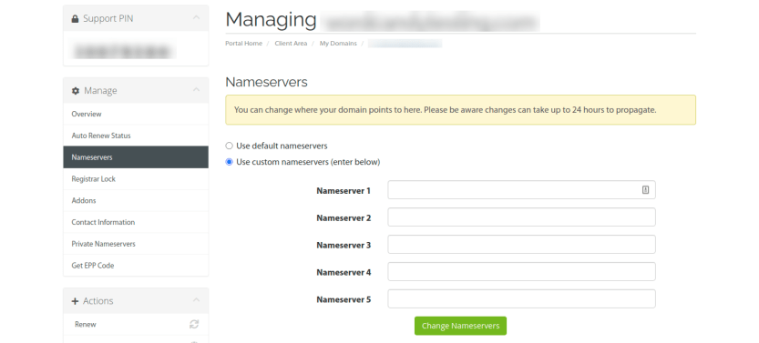 Entering new nameservers in the DNS settings.
