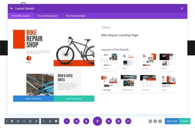 divi bike repair layout pack