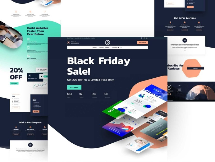 black friday landing page layout pack