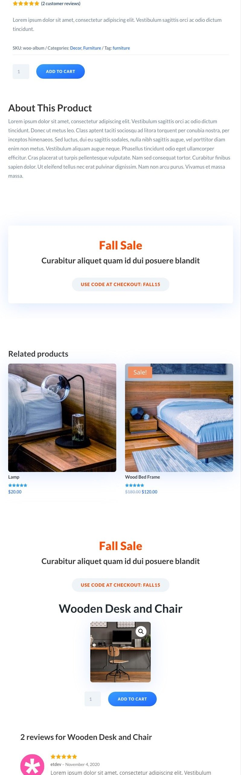 sticky columns sidebar product page template