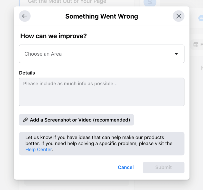 The Facebook support form.