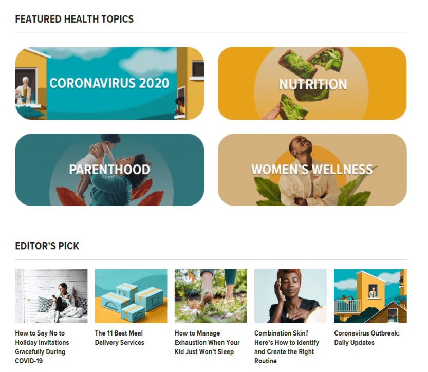 Healthline's homepage