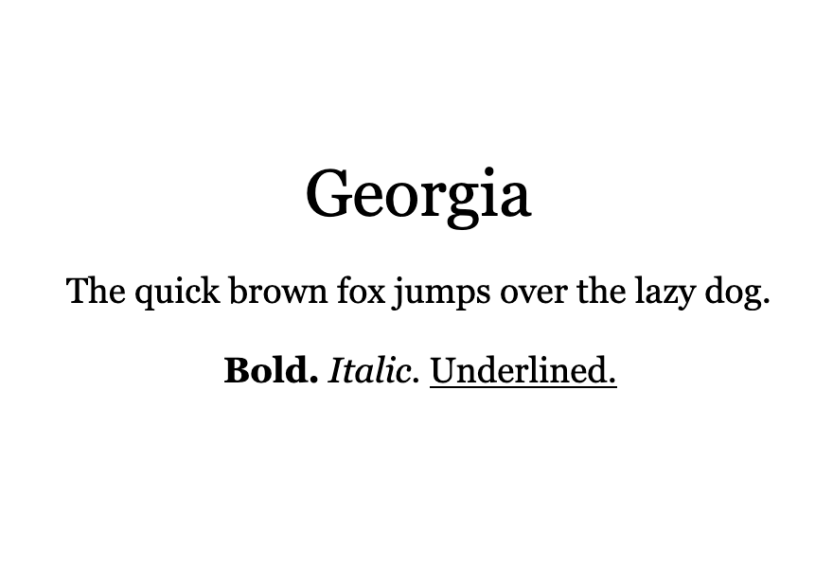 An example of the Georgia font.