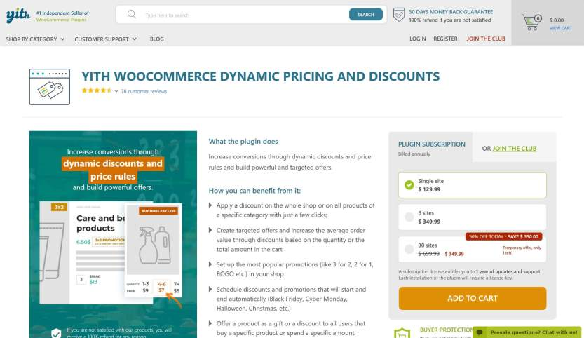 The YITH WooCommerce Dynamic Pricing and Discounts plugin.