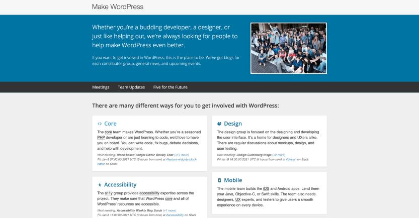 The Make WordPress website.