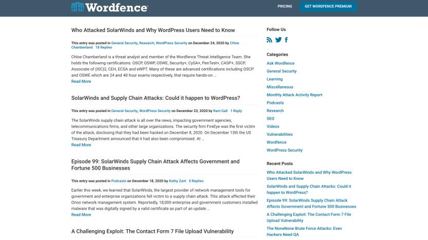 The Wordfence blog.