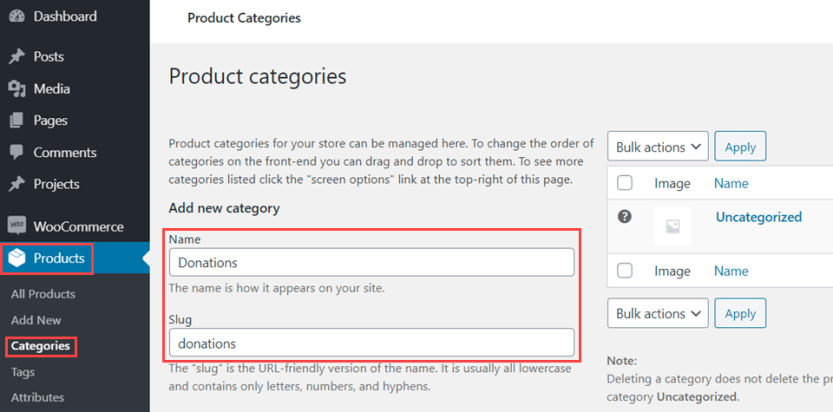 categories for woocommerce donations