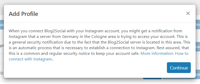 warning from blog2social
