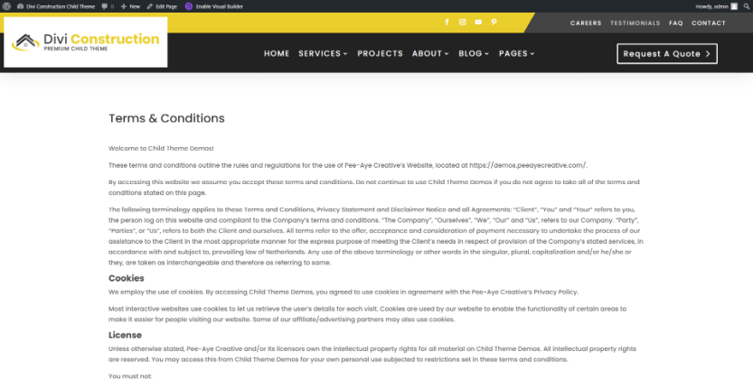 Divi Construction Terms & Conditions and Privacy Policy Pages