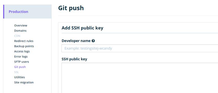 Git push via the WP Engine dashboard