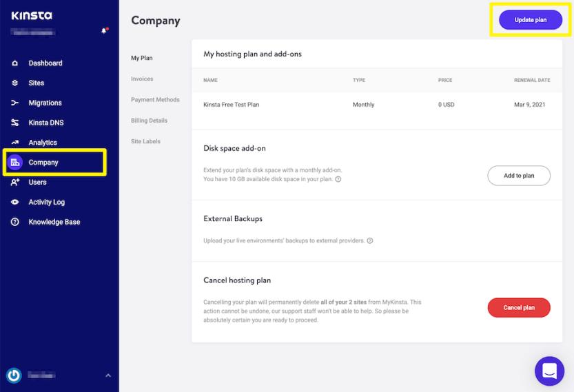 Upgrading hosting plan from the MyKinsta dashboard.